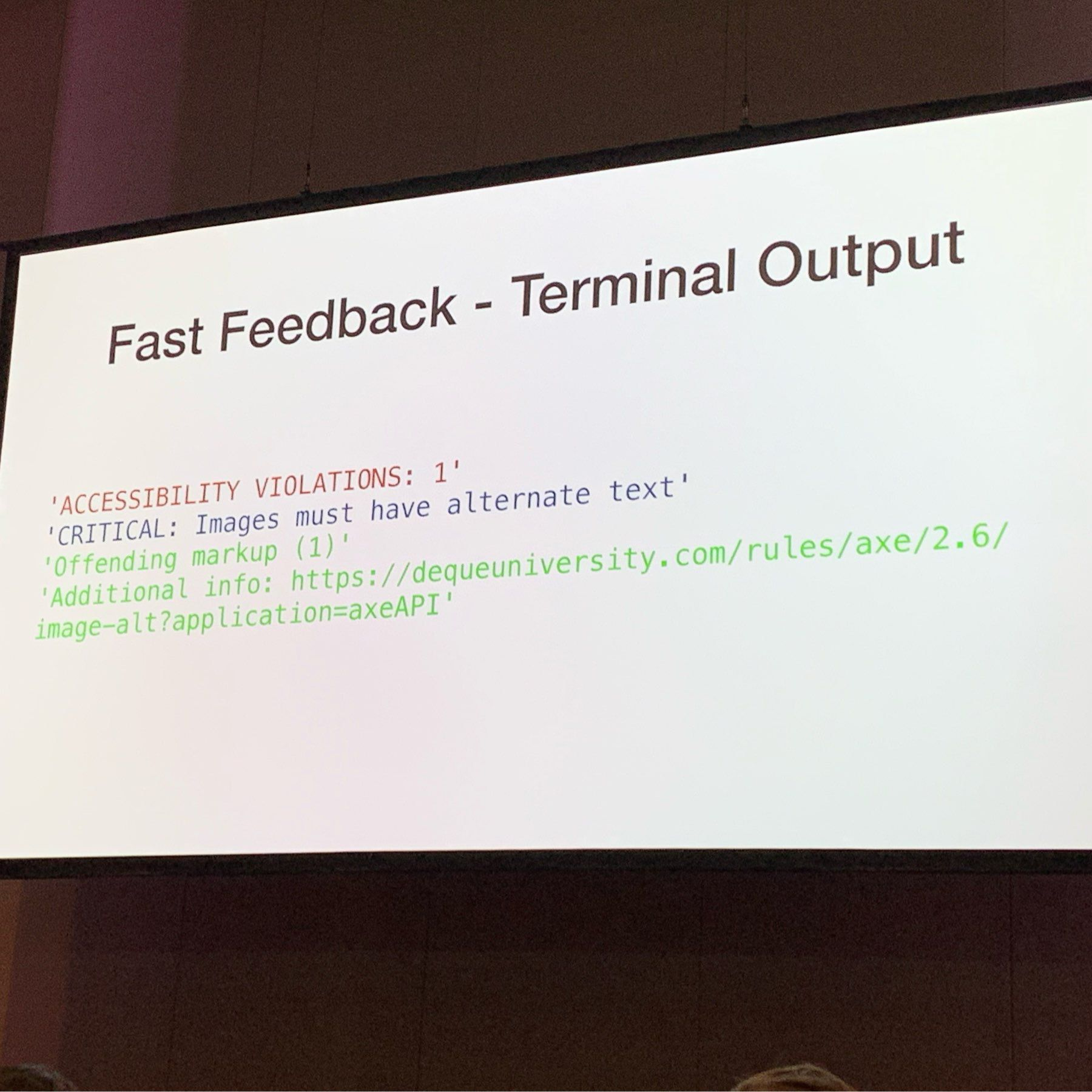 terminal output when there's an error